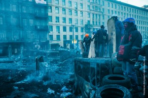 Protesters at their barricade on January 26 in Kiev, Ukraine. Photo used under Creative Commons License