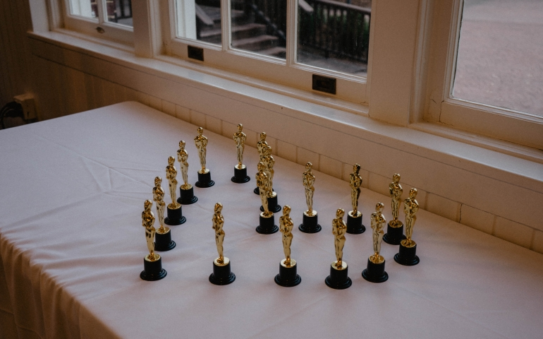 the awards arranged in a heart