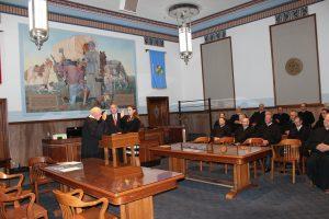 Collins being sworn in