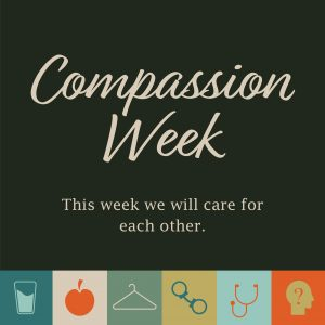 Compassion Week logo depicting the multiple ways to serve with icons