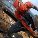 Spiderman swinging through a city