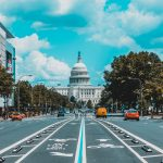 The US Capital from a busy street view