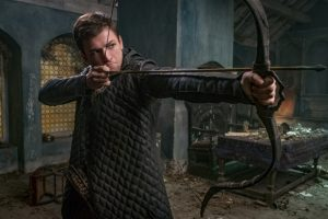 Robin Hood getting ready to shoot a bow
