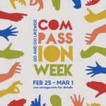 Poster for Compassion Week with hands surrounding the text
