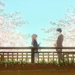 Anime characters on a bridge talking with cherry blossoms in the background