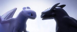 Hiccup and light dragon looking at each other