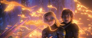 Hiccup and Astrid looking at glowing dragons in the sky