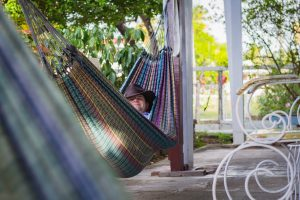 A person in a hammock