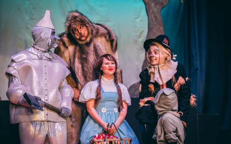 The Scarecrow, Tin-man, the cowardly Lion, and Dorthy
