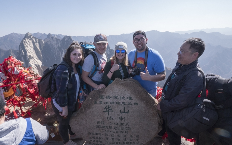 students on mountain top