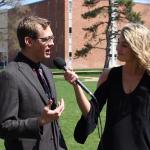 Photo of Marshall Jones being interviewed by Julia Schwake