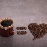 A coffee mug equals a coffee bean heart