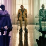 Samuel L. Jackson, James McAvoy, and Bruce Willis sitting in a hospital in Glass