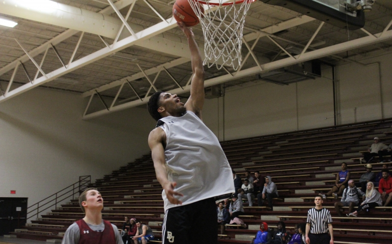 A student dunking