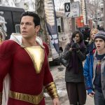 Shazam and his younger self stare into the sky