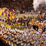 LSU running out onto the field before the game